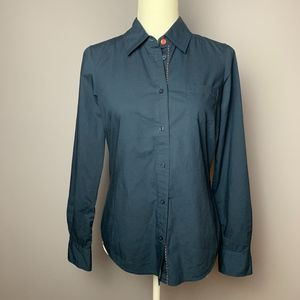 Boden Navy Button Down with Tropical Collar